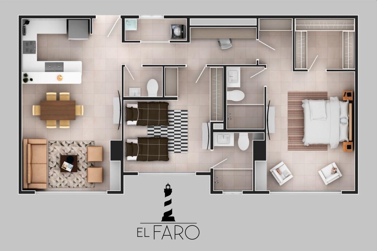 Apartamentos sobre planos de 3 habitaciones en santa marta for Diseno de apartamento de una habitacion